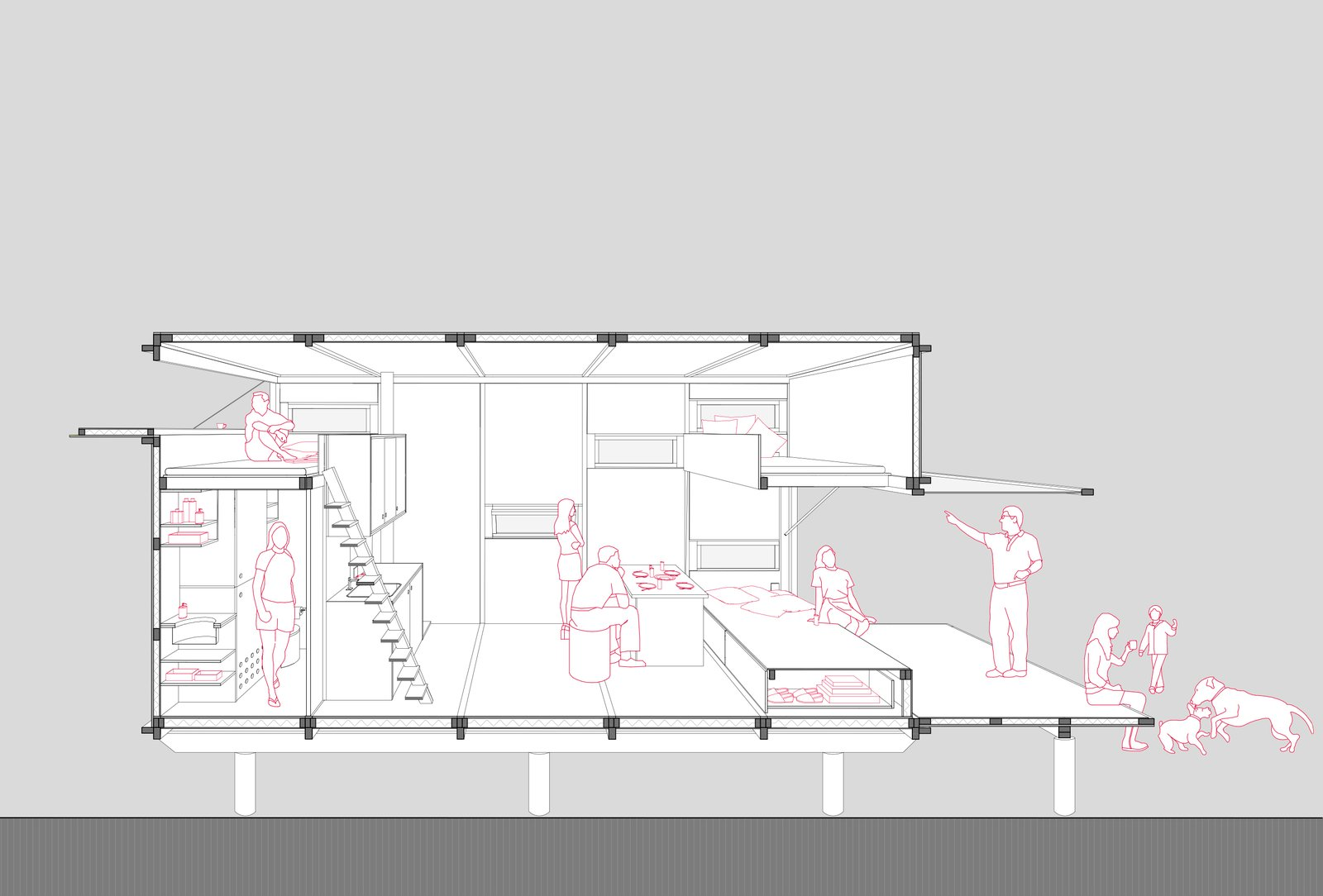 A sectional drawing shows the space as it could be used with opened panels to the outdoors.    Photo 8 of 8 in This Off-Grid Turkish Cabin Features a Nifty Pulley System