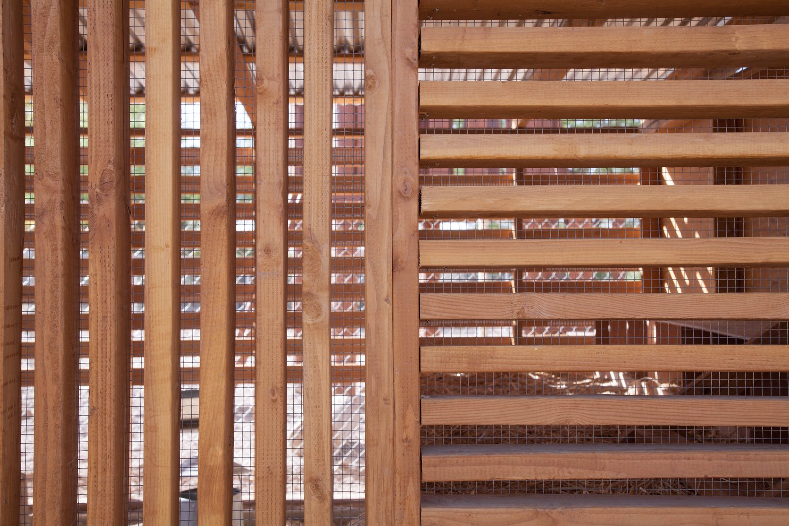 Standard dimensional lumber was used to create the louvered facade with lumber running both horizontally and vertically according to the desired lighting effect.  Photo 13 of 13 in Budget Breakdown: An Architect Builds a New Chicken Coop For Less Than $1.5K