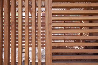 Standard dimensional lumber was used to create the louvered facade with lumber running both horizontally and vertically according to the desired lighting effect.