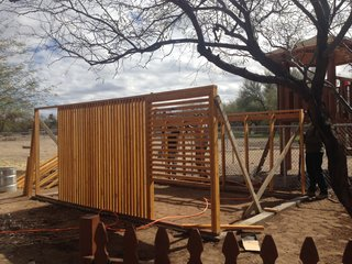 The coop was designed by architect Gideon Danilowitz and was constructed with the help of fellow volunteers from his son's school in Tucson.