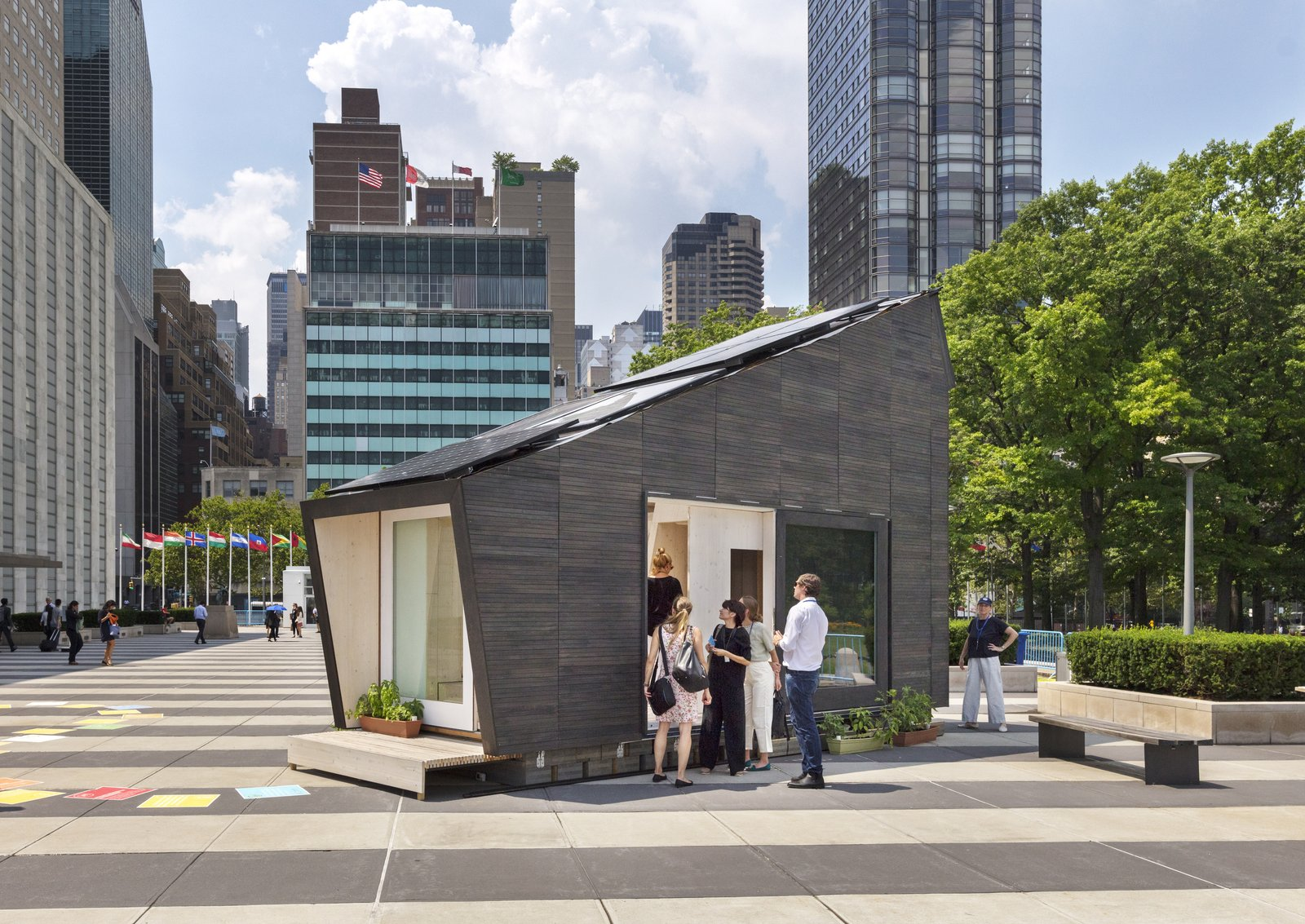 Exterior, Saltbox, Prefab, Tiny Home, and House The Ecological Living Module (ELM) was installed at the UN Headquarters in New York City for two months.  Best Exterior Prefab House Tiny Home Photos from This Tiny, Off-Grid Prefab Home Grows its Own Food