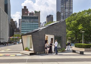 The Ecological Living Module (ELM) was installed at the UN Headquarters in New York City for two months.