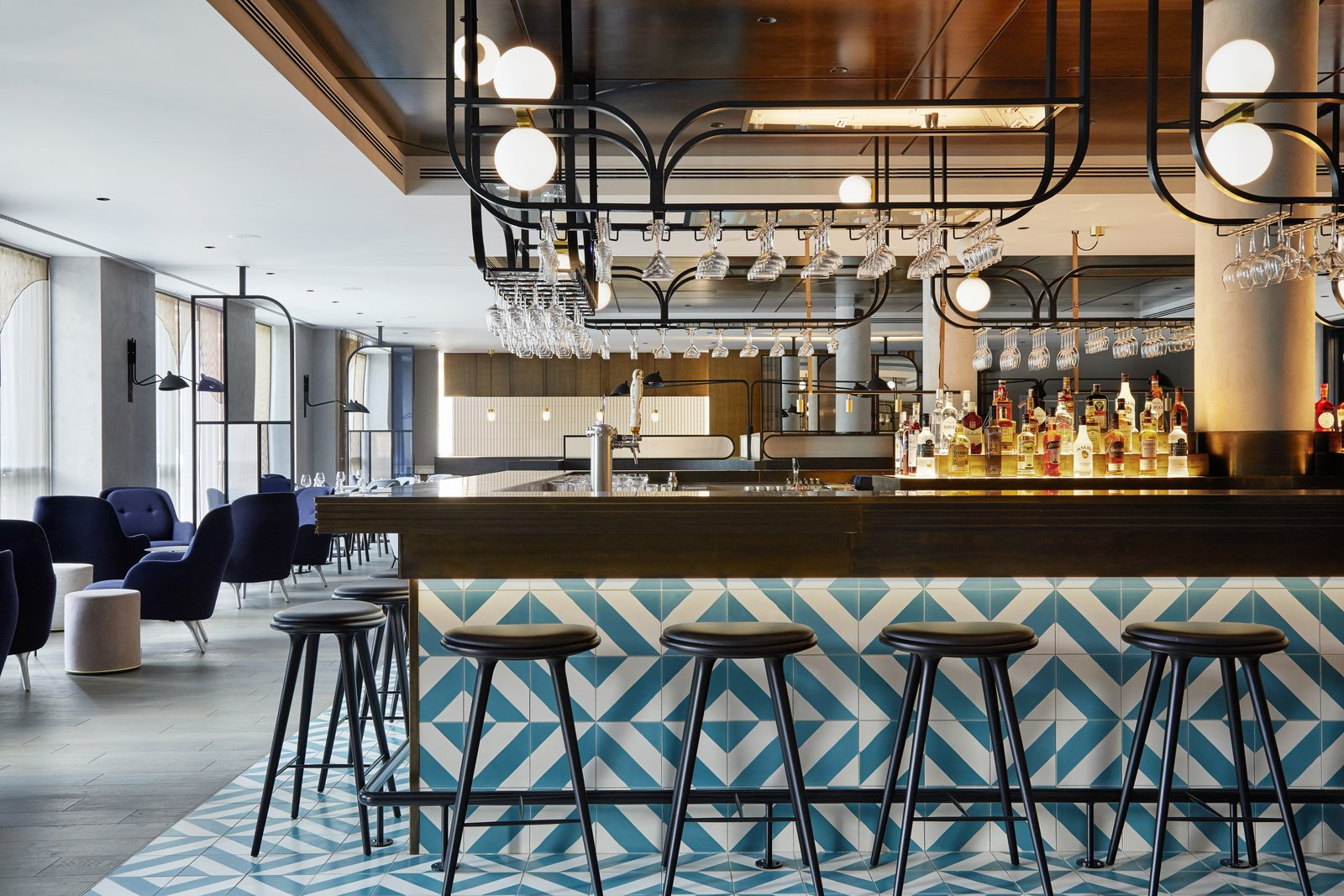 Dining, Chair, Recessed, Bar, Wall, and Stools The hotel's independent restaurant features Polish cuisine with a modern twist.  Best Dining Recessed Bar Photos from This New Hotel in Poland Is a Creative Paradise
