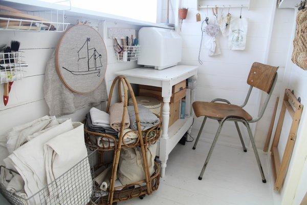 With efficient and varying storage solutions, this sewing shed for jewelry artist Artemis Russell mixes vintage finds with a variety of thoughtful but efficient storage solutions.