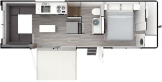 The one-bedroom layout of Living Vehicle's main typology is capable of sleeping up to six people if furniture in the main room is reconfigured and an additional lofted bed is lowered down from the ceiling. The company also offers other configurations and layouts for the bedroom.