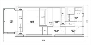 """Kasita's floor plan features a sofa that pulls out to form a bed, a glass-encased raised """"cube"""" at one end that acts as a multi-functional lounge, a raised kitchen with storage under the steps, and an open kitchen."""