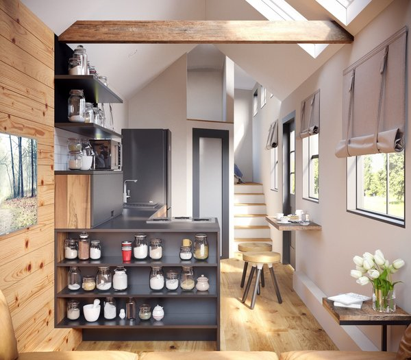 Founded by three couples in Portland, Oregon in 2014, Tiny Heirloom designs tiny homes including this flexible model called The Goose. Most models feature a lofted bedroom and an open kitchen; The Goose, because of the use of a gooseneck trailer, actually features a second floor.