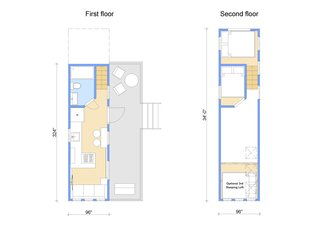 Although the deck and steps aren't included as part of the package, The Goose by Tiny Heirloom does provide multiple options for adding additional space, including additional lofted bedrooms and skylights.