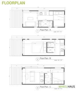 Different floor plans feature alternate ways to lay out the bedroom, bathroom, kitchenette, and living room depending on what the owner wants to emphasize—living space, cooking space, or the sleeping area.