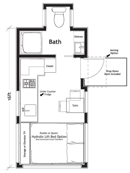Photo 20 of 20 in 10 Tiny Home Floor Plans That Illustrate ... on cottage floor plans, studio floor plans, home floor plans, small house plans, tiny houses on wheels, great tiny house plans, travel trailer floor plans, shed house plans, shipping container floor plans, tiny houses one story, architecture floor plans, tiny house plans 20x20, cabin house plans,