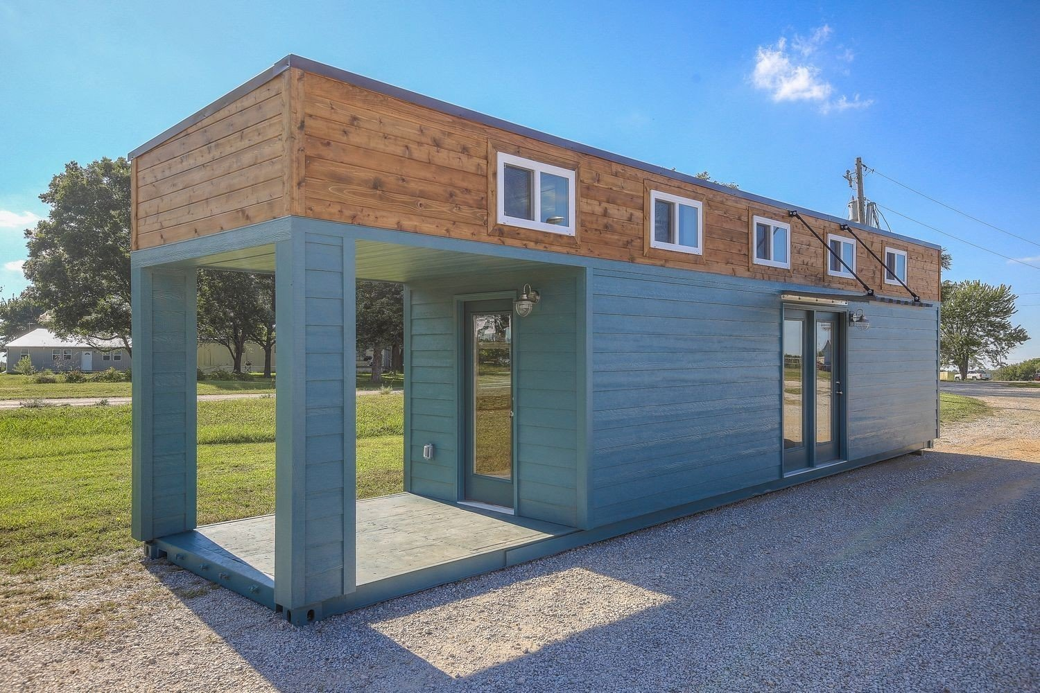 Front Porch Living shipping container home exterior