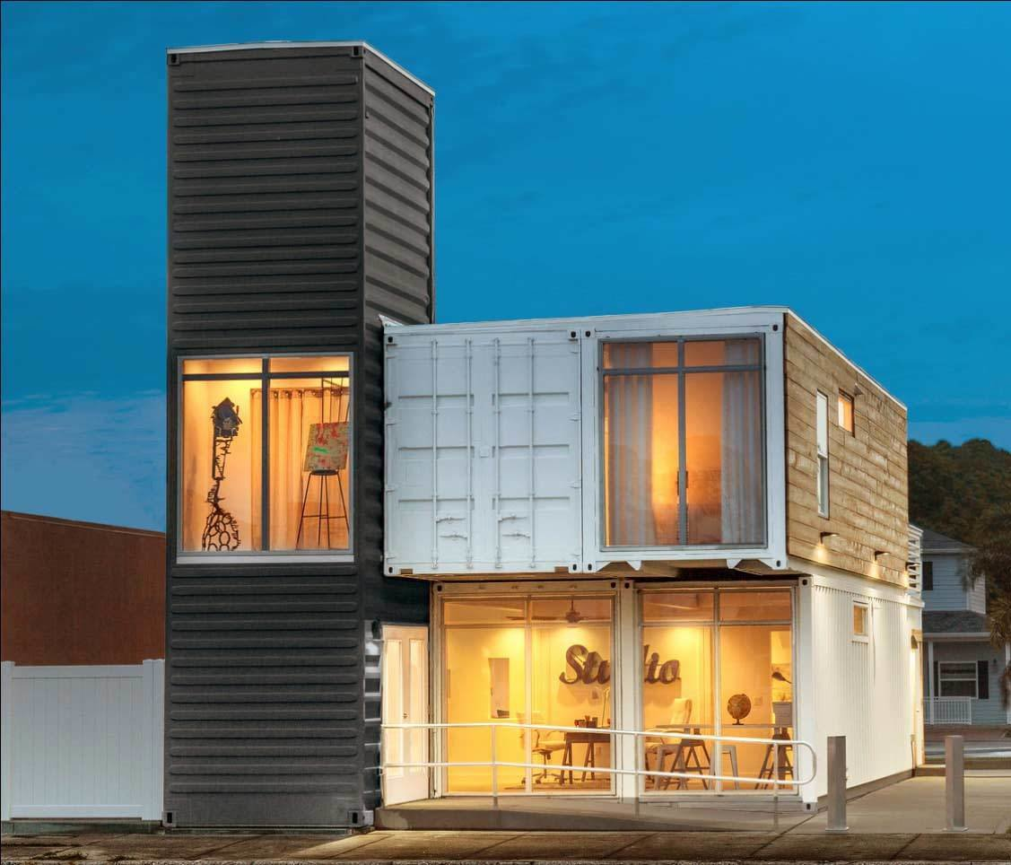 live/work 2070 shipping container home exterior