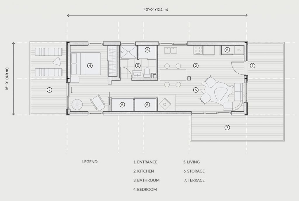 MEKA Vor 640 shipping container home floor plan