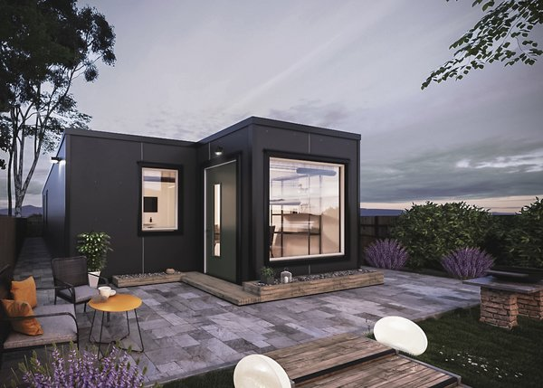 Made of two 40-foot-long shipping containers offset from one another, the Model 6 by IndieDwell offers 640 square feet of living space.