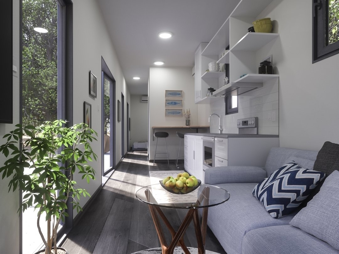 Luckdrops Studio+ shipping container home interior