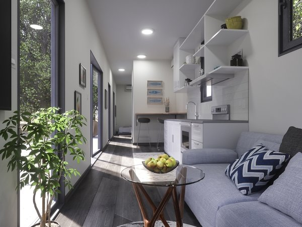 Luckdrops' Studio+ is a one-bedroom, one-bathroom shipping container home with 287 square feet of living space. The $38,000 home features light, bright, and modern interiors that are miles away from what you might expect the inside of a shipping container to look like.