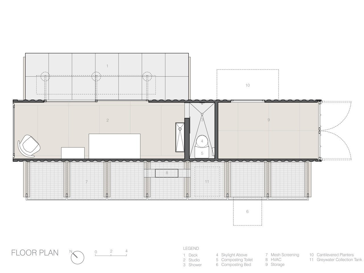 Poteet Architects shipping container home floor plan