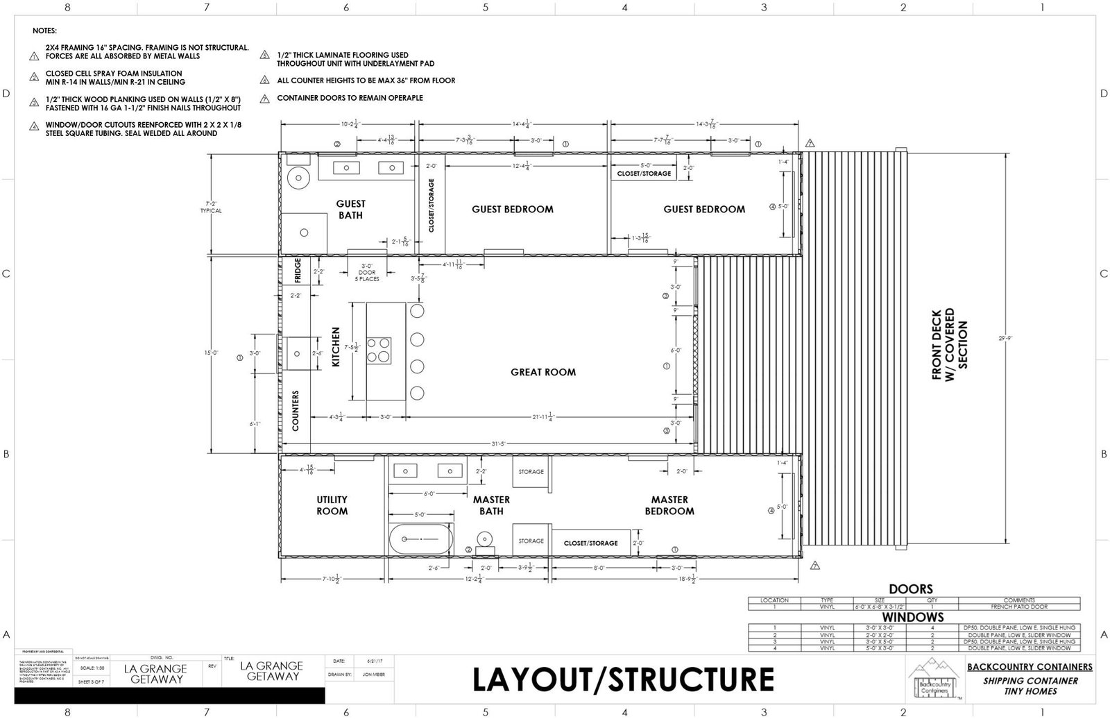 Backcountry Containers shipping container home floor plan