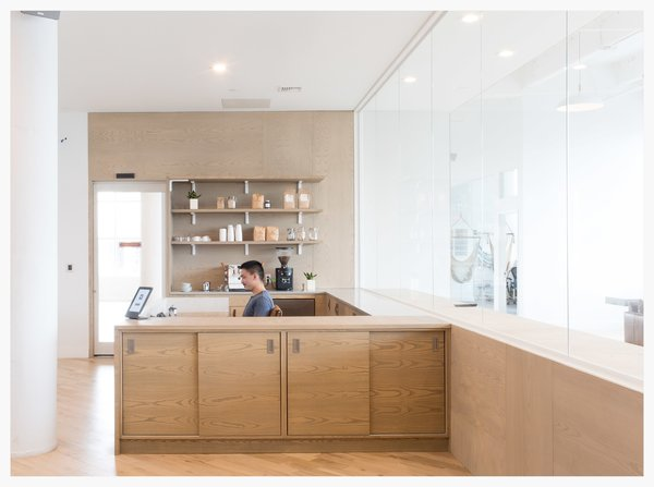 Wood Warms Up This Otherwise All White Office For Startup Eligible Designed By Dani Arps