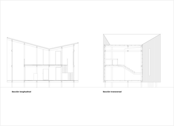 A section shows how Cabana Don Juan emphasizes the double-height spaces on either side of the home. The two bedrooms are located in the central lofted portion.