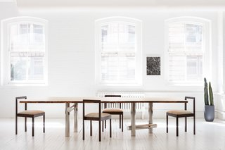 The Kenny dining table by Egg Collective comes in a range of wood species and is available custom with either a live-edge top or a finished, rectangular top.
