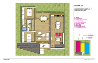 The tripartite plan of Casita 850 shows the central breezeway, with more private spaces on one side and more public on the other.