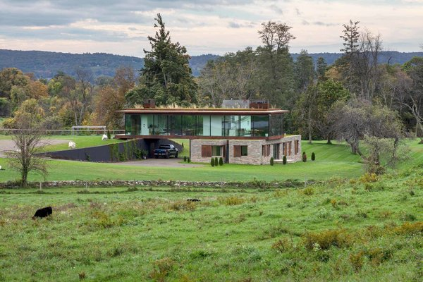 The 4,600-square-foot home is set on bucolic farmland.