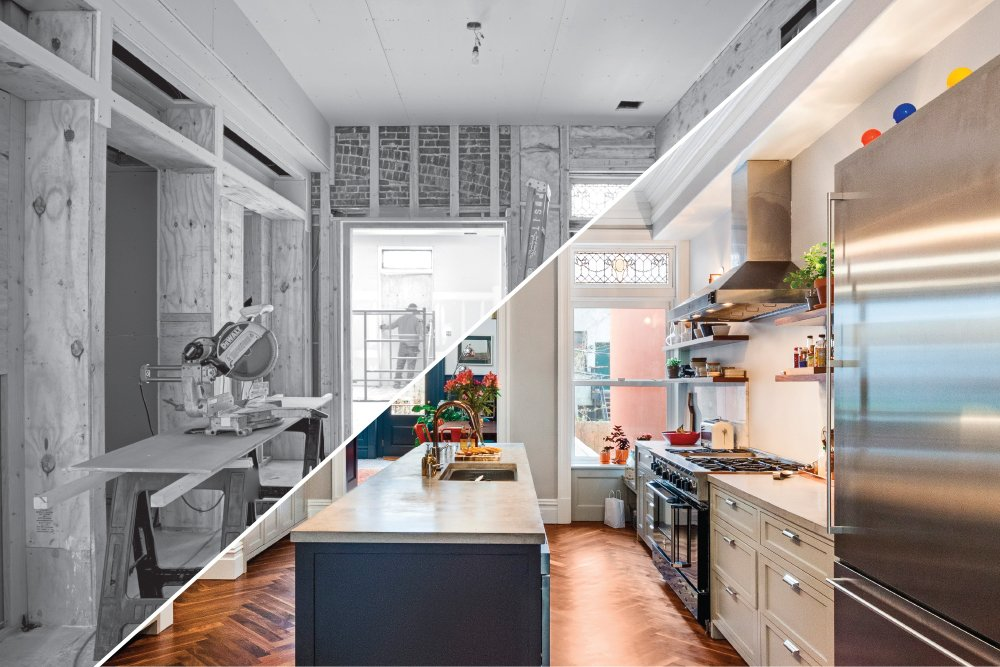 Herringbone floors, a poured concrete kitchen island and an open line of sight (no upper cabinets) were wish list items for these Sweeten homeowners' gut remodel.  Photo 1 of 11 in 6 Design Apps and Services You Should Know for Your Next Renovation