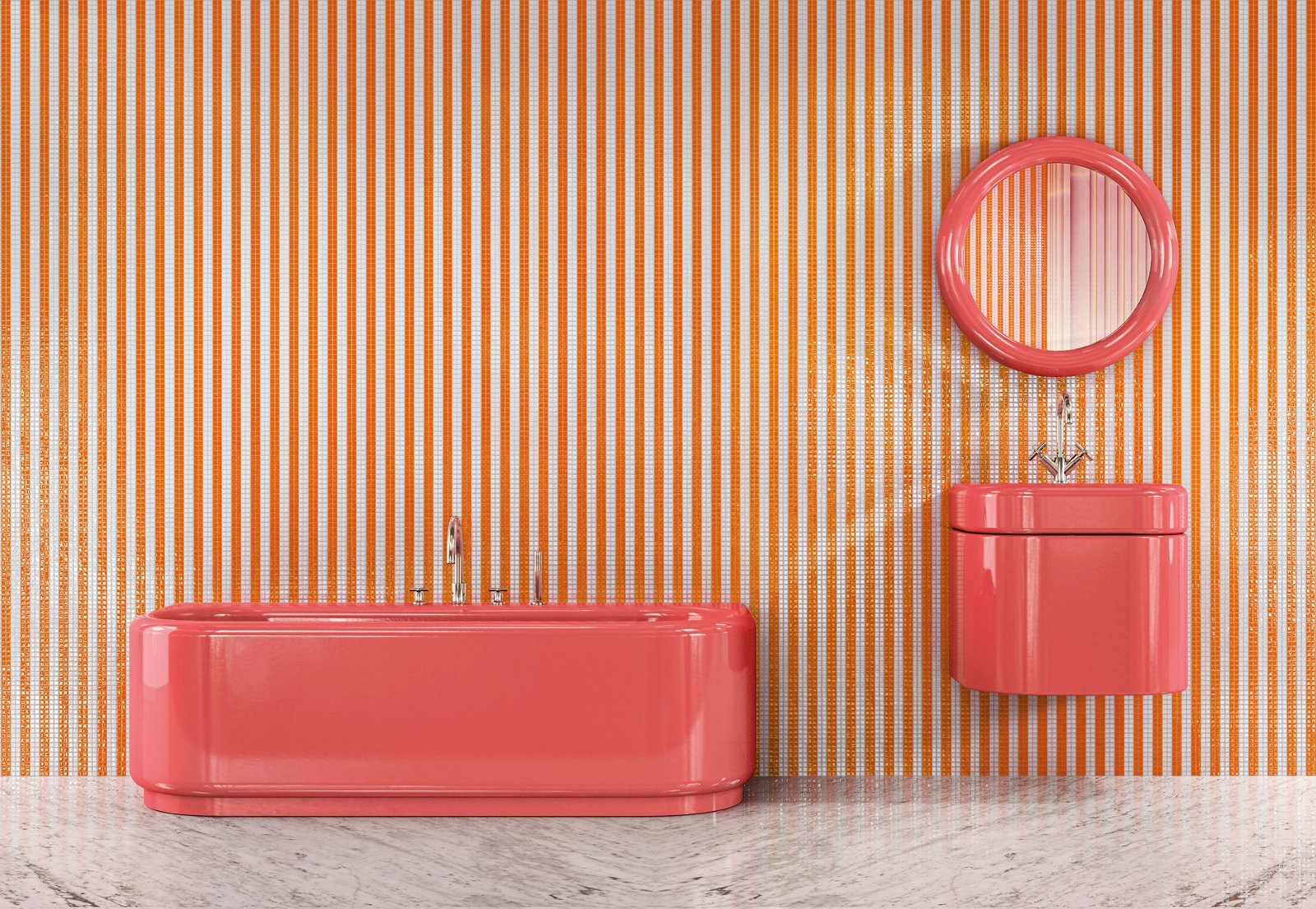 Bath Room, Wall Mount Sink, and Soaking Tub Bisazza's Mahdavi Collection was designed by India Mahdavi, who selected playful colors like strawberry, blueberry, and pistachio for the line.  Photo 1 of 10 in Trend Report: Bathroom Fixtures Go Bold in a Rainbow of Retro Hues