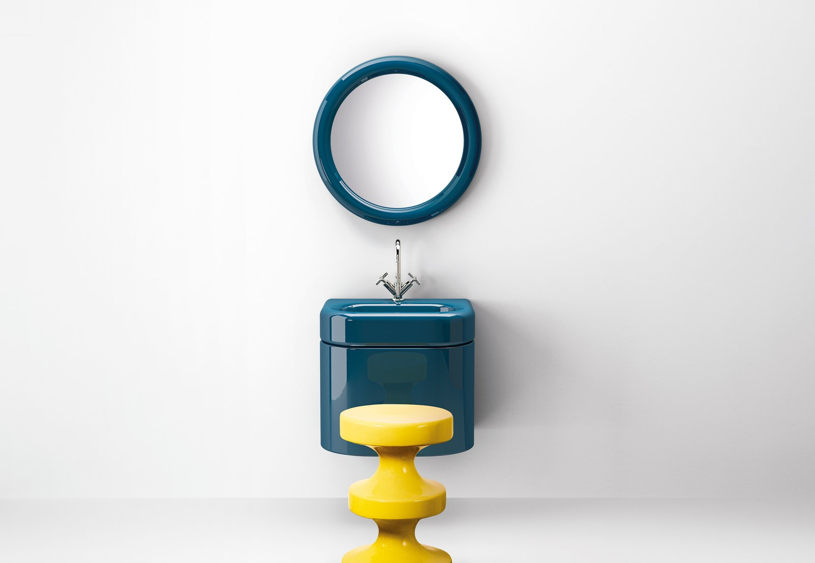 Bath and Wall Mount The collection of bathroom fixtures includes a wall-mounted sink and vanity, a bathtub, and a round mirror.  Best Bath Photos from Trend Report: Bathroom Fixtures Go Bold in a Rainbow of Retro Hues