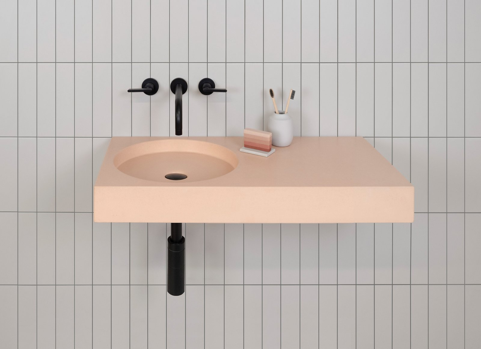 Bath Room and Wall Mount Sink Cero offers an offset vanity and a circular bowl.  Photos from Trend Report: Bathroom Fixtures Go Bold in a Rainbow of Retro Hues