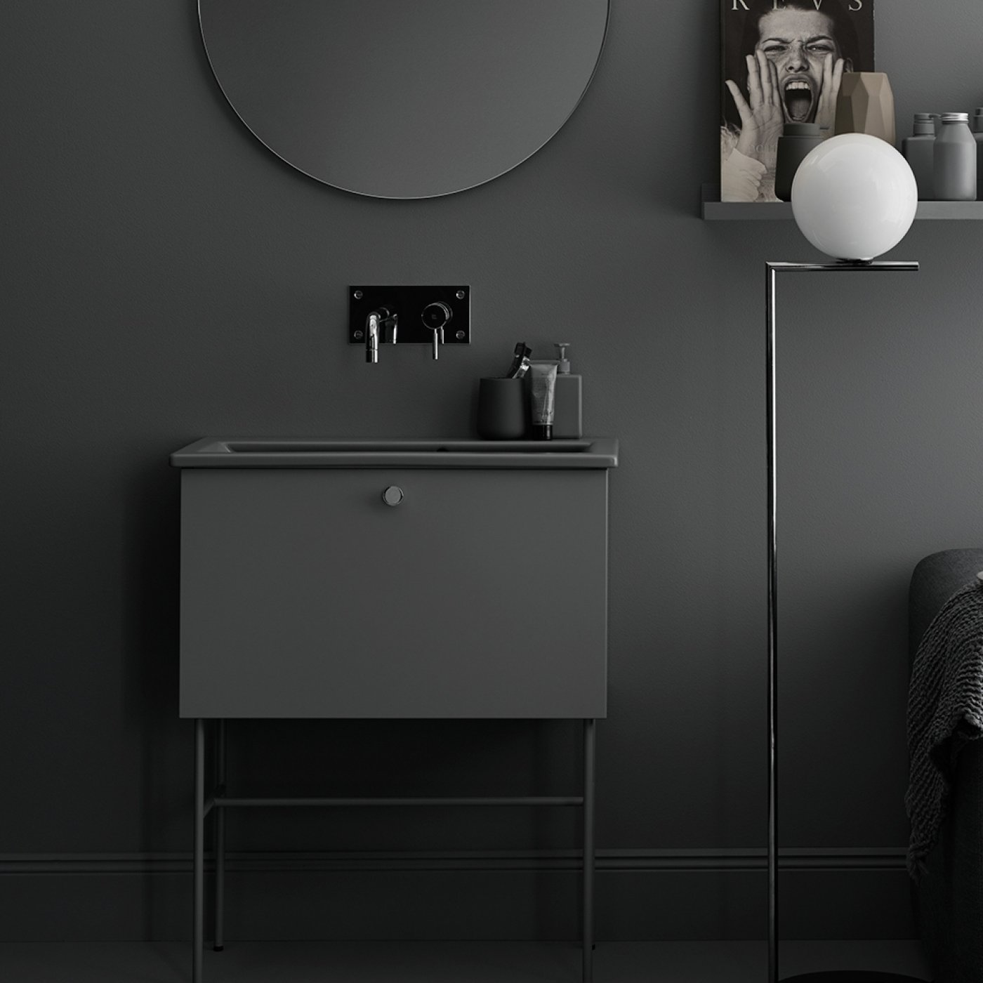 Bath Room, Floor Lighting, and Wall Mount Sink Swoon's Studio line of bathroom vanities and simple and minimalist, with slender legs and a single pull drawer for the vanity.  Photo 6 of 10 in Trend Report: Bathroom Fixtures Go Bold in a Rainbow of Retro Hues