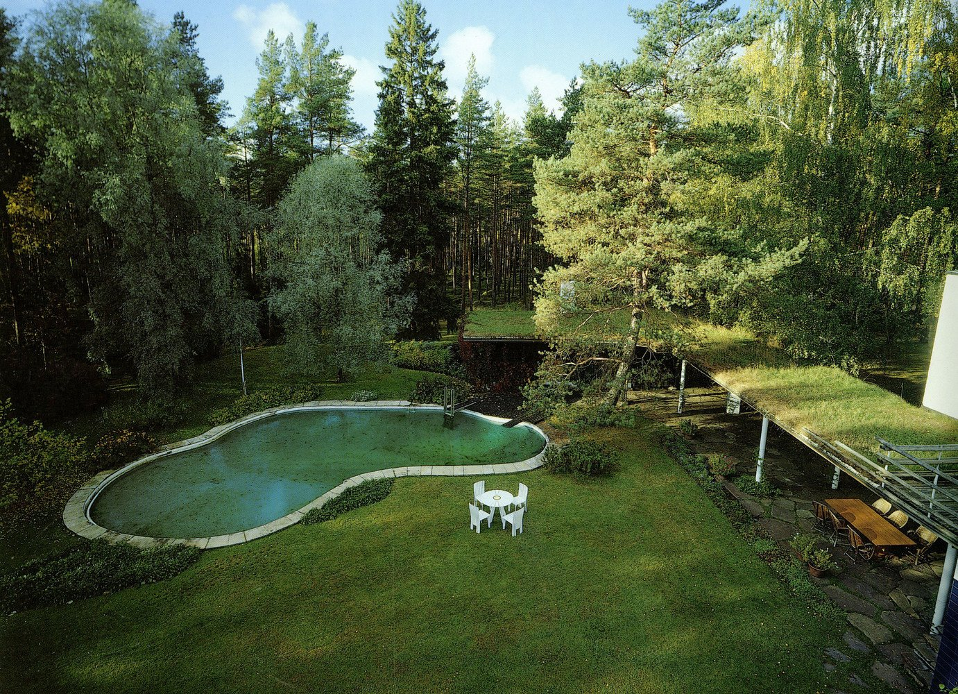 The kidney-shaped pool at Villa Mairea in Noormarkku, Finland