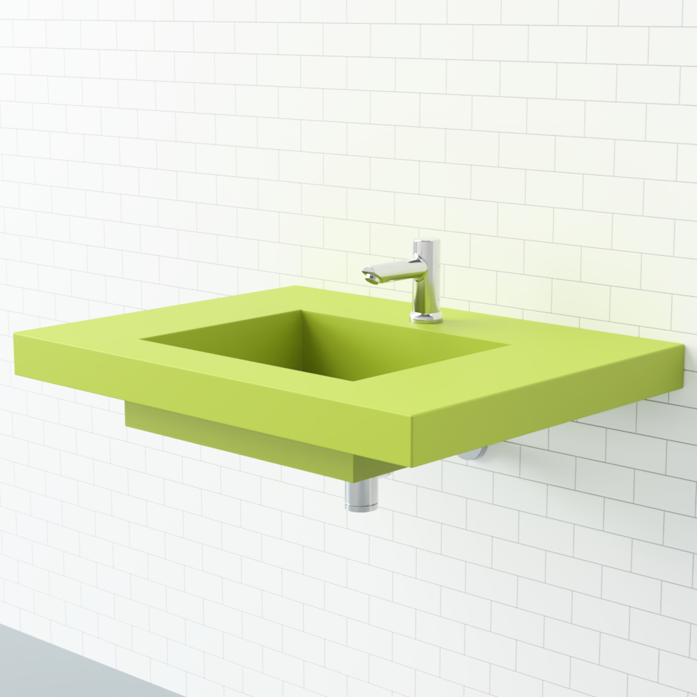 Bath Room and Wall Mount Sink This wallmount sink from Whyte & Company provides adequate space on the sides for washing up or getting ready. It's granny smith apple color makes a bright statement.  Photo 9 of 10 in Trend Report: Bathroom Fixtures Go Bold in a Rainbow of Retro Hues