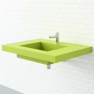 This wall-mount sink from Whyte & Company provides adequate space on the sides for washing up or getting ready. Its Granny Smith apple color makes a bright statement.