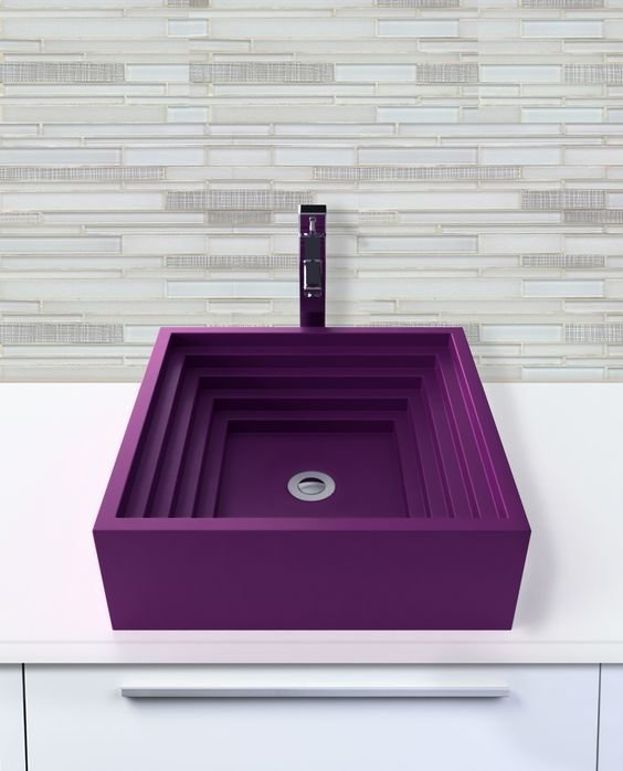 Bath Room and Vessel Sink The Finn sink from Whyte & Company is featured here in plum, a vibrant purple color. Whyte & Company's sinks are available in nearly 30 different colors.  Photo 10 of 10 in Trend Report: Bathroom Fixtures Go Bold in a Rainbow of Retro Hues