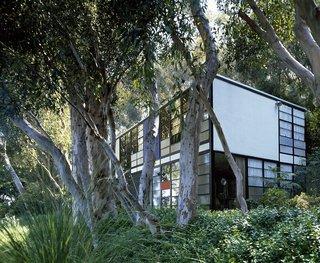 The Eames House, also known as Case Study House #8, is on Chautauqua Drive in the Pacific Palisades area of Los Angeles, California.