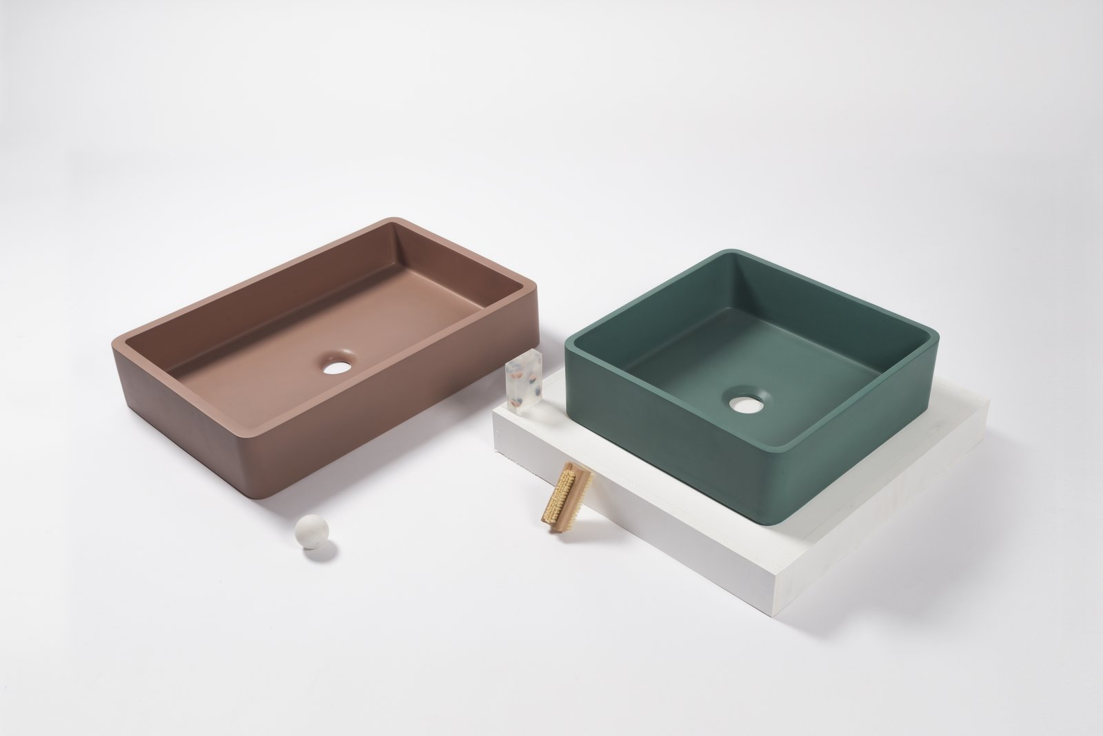 Bath Room and Vessel Sink The subdued shades of Nood's palette include Clay (shown above in the Vesl Rectangle) and Teal (shown above in the Vesl Square).  Photo 8 of 10 in Trend Report: Bathroom Fixtures Go Bold in a Rainbow of Retro Hues