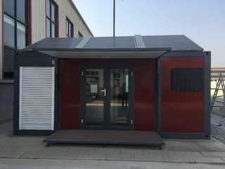Solar panels on the roof make this prefabricated home more eco-friendly than many others on the market.