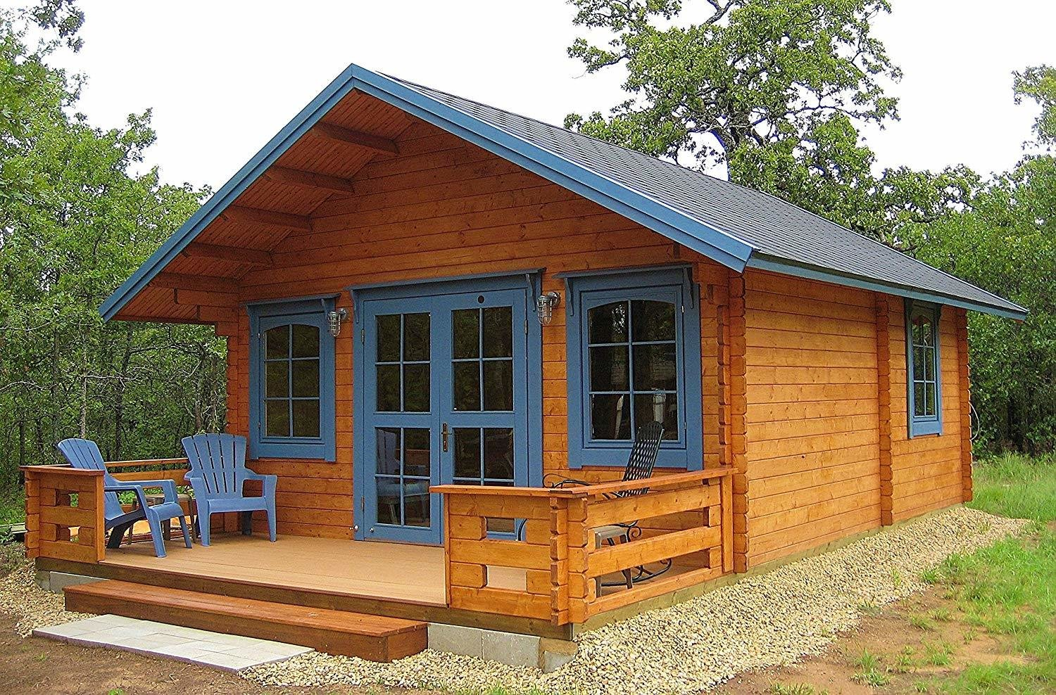 Assembly of the Allwood Getaway Cabin Kit from Lillevilla typically takes only 2-3 days for two adults with minimal tools.  Photo 6 of 7 in 7 Tiny Homes You Can Buy on Amazon