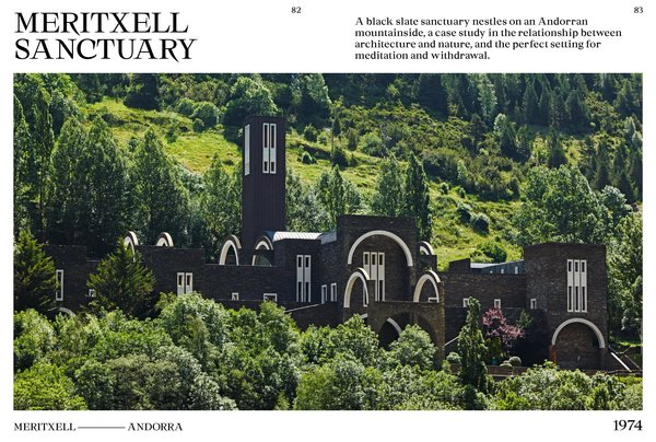 Completed in 1974, the Meritxell Sanctuary in Andorra comprises an entire complex, including the remains of a medieval castle that was destroyed by a fire in 1972. Bofill's firm, inspired by the Romanesque design of the original chapel on the site, adapted the geometry and materials for new components.