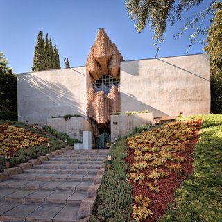 """The neo-Mayan Sowden House's imposing entrance has given the nickname """"Jaws House."""""""