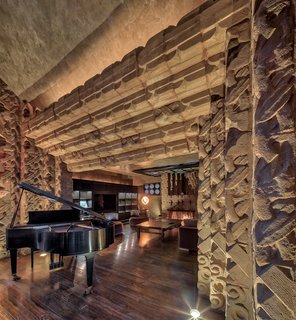 Dramatic ceilings, textured walls, and fantastic acoustics characterize most of the spaces in the home.
