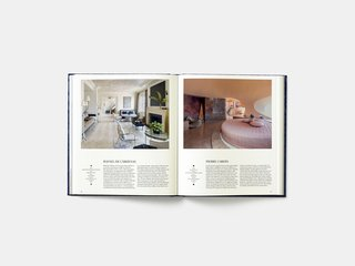 A spread in the book shows a New York City penthouse designed by Rafael de Cardenas and completed in 2013 alongside a bedroom in the Cote d'Azur vacation home of fashion designer Pierre Cardin. The two-story apartment in New York by de Cardenas combines restraint and minimalism to allow specific elements stand out, like a mesmerizing hand-painted ceiling and carefully selected furniture. The Pierre Cardin bedroom, on the other hand, was designed between 1975 and 1989 by avant-garde Hungarian architect Antti Lovag and embodies the architect's retro-futuristic designs with the circular bed, swooping apertures into the room, and bold and playful colors.