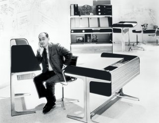 The Action Office line was one of the company's pioneering series of office furniture that sought to provide office workers with flexibility and the ability to move. A variety of postures was considered: stand-up desks, perching seats, and smaller sit-down units were all developed for the average worker who spends one-third of their day in an office, seated before a desk. As forward-looking and well-considered as the concepts and designs were, the line unfortunately met only modest success and hinted at the growing tensions within the company, particularly between George Nelson's office and cross-disciplinary designer Robert Propst. (George Nelson portrait for Alcoa Design Award feature in Fortune, 1965)