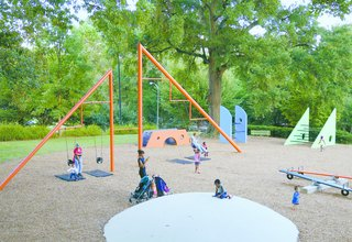 Completed in Atlanta, Georgia, in 1976, Piedmont Park's Playscape was designed by Japanese-American designer and artist Isamu Noguchi. The park, Noguchi's only completed playground, showcases his interest in abstract forms and sculptural elements in its angular, zig-zagging pieces. Swings hang from offset bars, and triangular shapes are particularly noticeable. In 2012, Herman Miller established an employee-led foundation and giving program that funded the restoration of Noguchi's Playscape in 2014. (Noguchi Playscape designed by Isamu Noguchi in 1976 for Piedmont Park, Atlanta, Georgia, restored with a grant from Herman Miller Cares, 2014.)