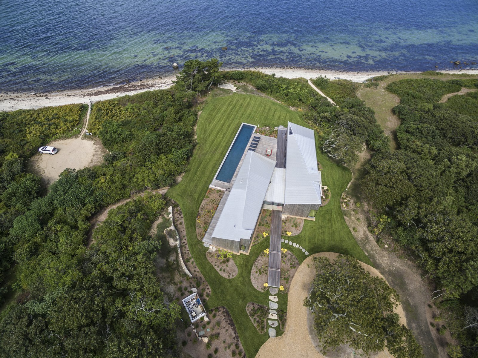 Martha's Vineyard House by Anmahian Winton Architects aerial view