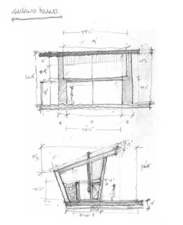 Trim Studio's sketch of the exterior elevation shows the shed roof and how its overhang over the front porch allows for shade, and its angle allows for head height in the lofted bedroom.