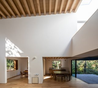 Ceilings are typically composed of simple white plaster or exposed wood beams. The flooring, furniture, and window frames are also wood.