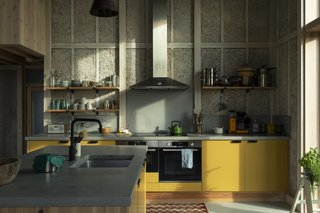 The bright-yellow cabinets are a playful touch in the otherwise neutral-toned space.